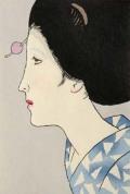 木版画/女の夏姿(八つ額入り)