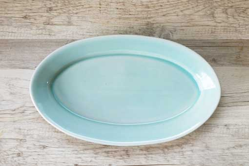 ロングだ円皿32 プレーン オーシャングリーン