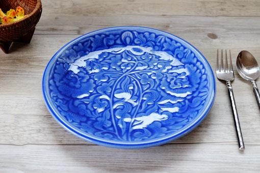 丸皿25cm フラワー ブルー