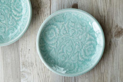 丸皿15cm フラワー オーシャングリーン