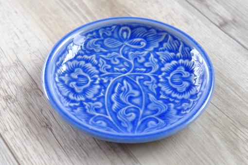 丸皿15cm フラワー ブルー