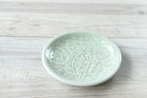 丸皿11cm フラワー ナチュラルグリーン