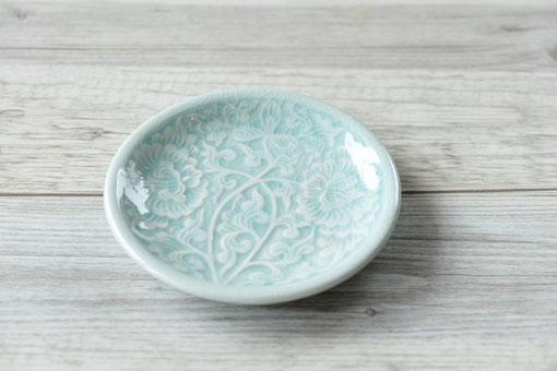 丸皿11cm フラワー オーシャングリーン