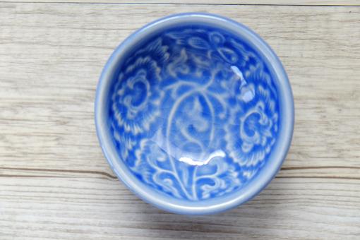 豆皿 丸 【フラワー】 ブルー
