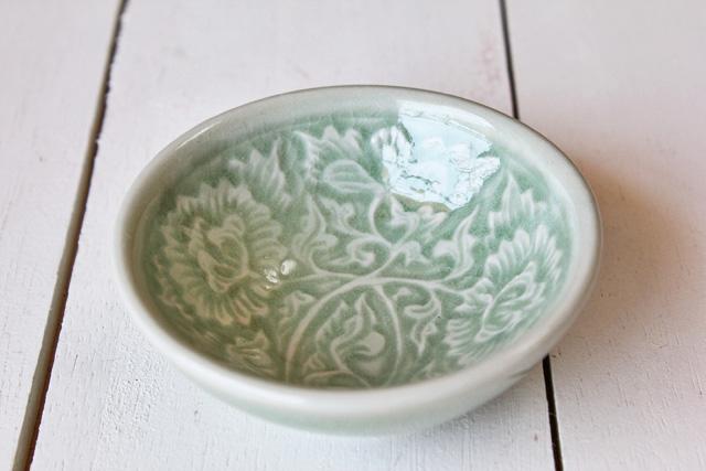 豆皿 丸 【フラワー】 ナチュラルグリーン
