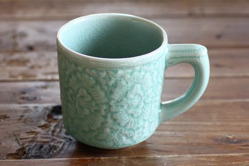 たっぷりマグカップ 【フラワー】 オーシャングリーン
