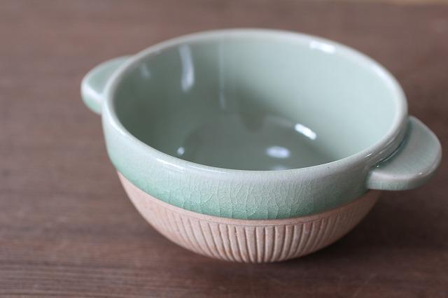 素焼きのあったかスープカップ ストライプ(12cm) ナチュラルグリーン
