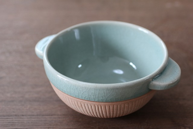 素焼きのあったかスープカップ ストライプ(12cm) オーシャングリーン