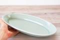 ロングだ円皿32 プレーン ナチュラルグリーン