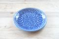 丸皿17cm フラワー ブルー