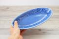 とんがり皿 S フラワー ブルー