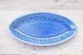 とんがり皿 M フラワー ブルー