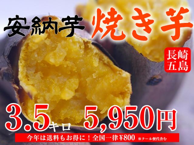 【安納芋】長崎五島産冷凍焼き芋/500~600g×7袋(約3.5kg)【クール便発送】【imo】