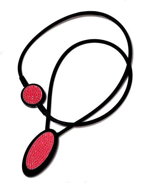 プレミアムネックレス-S 黒&赤・赤