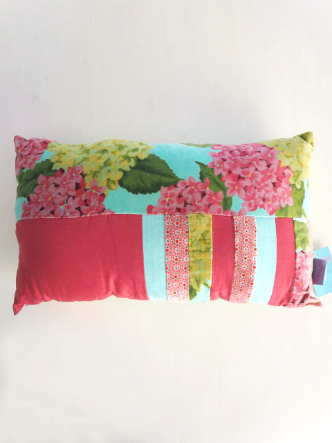 『SALE セール15%OFF』Bagaille バガイユ Pillow Cushion Patchwork  ピロークッション パッチワーク アジサイ(Hydrangea Turquoise)Type.A