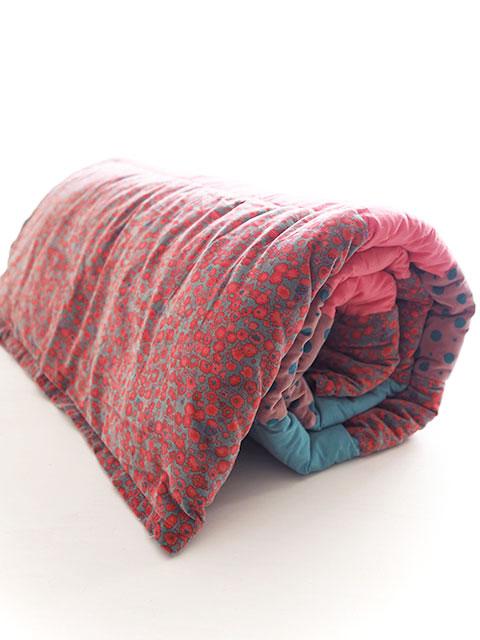 Bagaille バガイユ Quilt Multi Cover Patchwork キルト マルチカバー パッチワーク・フルーレット グラシエ フランボワーズ(Fleurette Glacier Framboise/150x220cm)