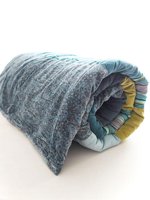 Bagaille バガイユ Quilt Multi Cover Patchwork キルト マルチカバー パッチワーク・フルーレット ティール ブルー(Fleurette Teal Blue/150x220cm)
