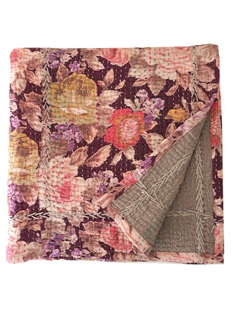 オンフィル ダンディエンヌ En fil d'Indienne キルト マルチカバー Purple Rose Violet (W160XH160cm)