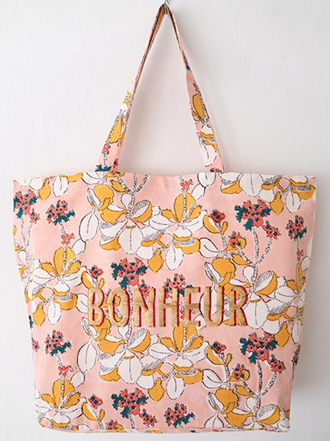 """Jamini ジャミニ トートバッグ エコバッグ Tote Bag ・IRIS Pink/BONHEUR/""""幸せ""""(W51.5xH41xマチ14cm)"""
