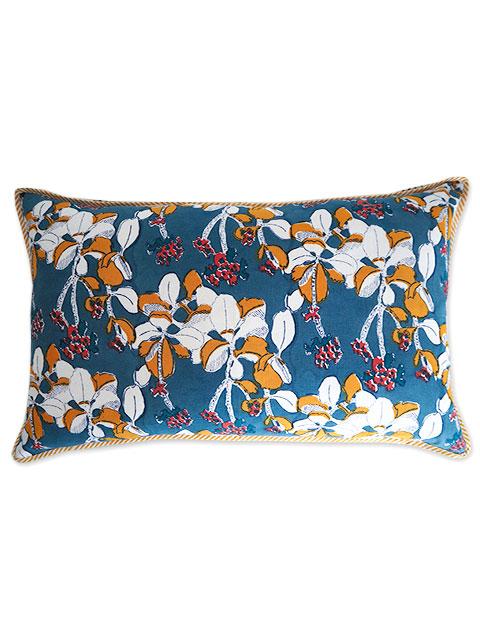 Jamini ジャミニ クッションカバー Cushion-cover・IRIS JEAN(W65xH40cm)(カバーのみ)