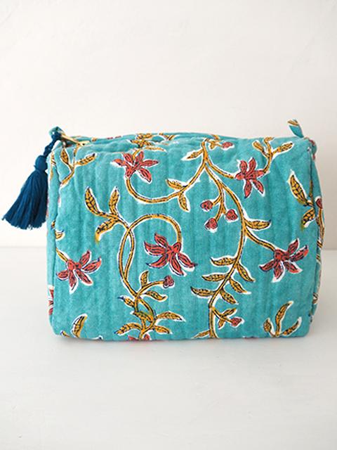Jamini ジャミニ ミディアムポーチ Medium Pouch・ANAMIKA Turquoise(W20xH15xマチ11cm)