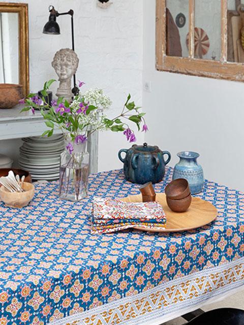 Jamini ジャミニ テーブルクロス Table cloth・ANTARA Blue(W240xH135cm)