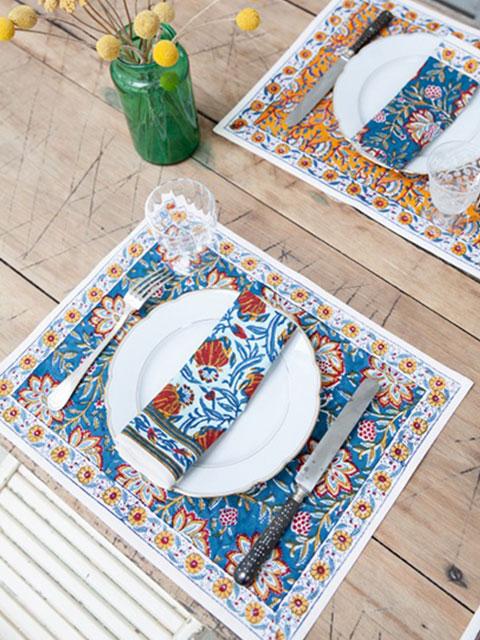 Jamini ジャミニ テーブルマット Table Mat・LOUISE Blue(W45xH35cm)