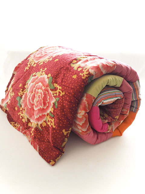 Bagaille バガイユ Quilt Multi Cover Patchwork キルト マルチカバー パッチワーク・ ピオニー ルージュ(Peony Rouge/86x208cm)Type.A