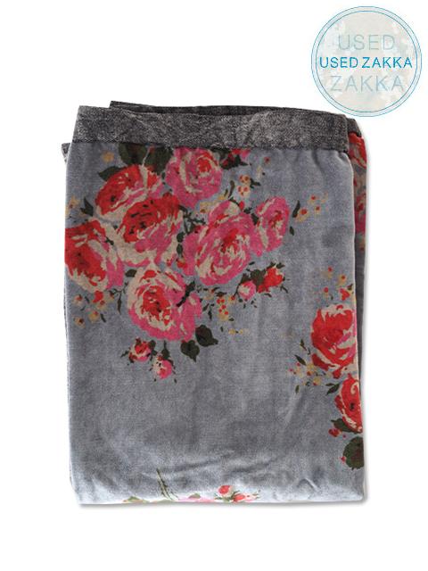 『USED ZAKKA』オンフィル ダンディエンヌ En fil d'Indienne ベロアカーテン Rosy Velor Blue(W100xH280cm)