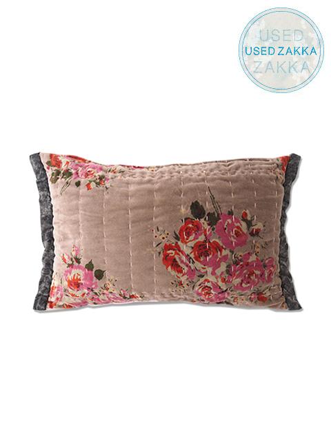 『USED ZAKKA』オンフィル ダンディエンヌ En fil d'Indienne クッションカバー Rosy Velour Rose(W45xH30cm・カバーのみ)