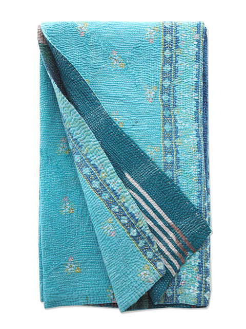 オンフィル ダンディエンヌ ヴィンテージカンタ ラリーキルト シングルスロー en fil d'Indienne Vintage Kantha Single Throw・Type.E