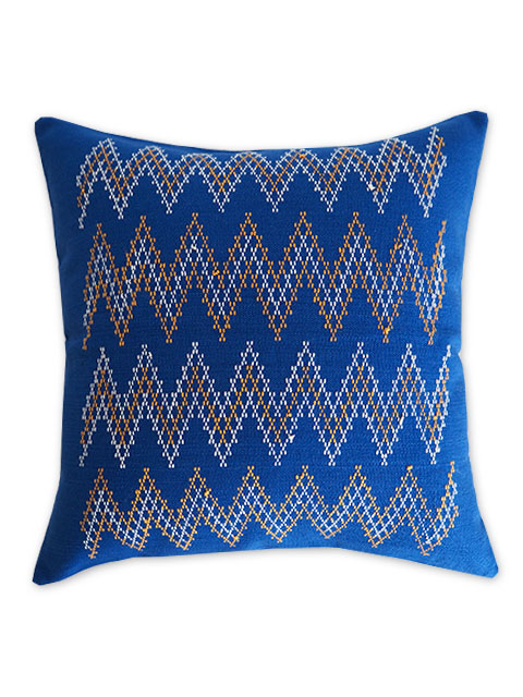 Jamini ジャミニ クッションカバー Cushion-cover・KASHI BLUE(W37xH37cm/Type.B)(カバーのみ)