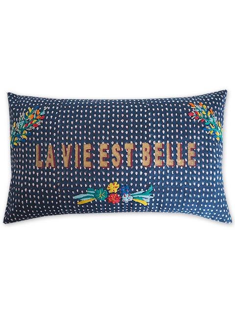 "Jamini ジャミニ クッションカバー Cushion-cover・TARA NAVY/LA VIE EST BELLE/""人生は美しい""(W50xH30cm/Type.A)(カバーのみ)"