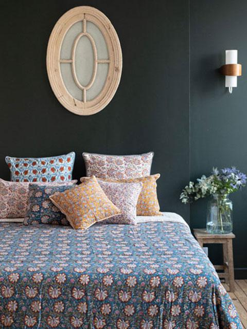 『お値引き7%OFF』Jamini ジャミニ キルト マルチカバー Quilt Multi-cover・LOUISE BLUE(W160xH225cm)Type.A