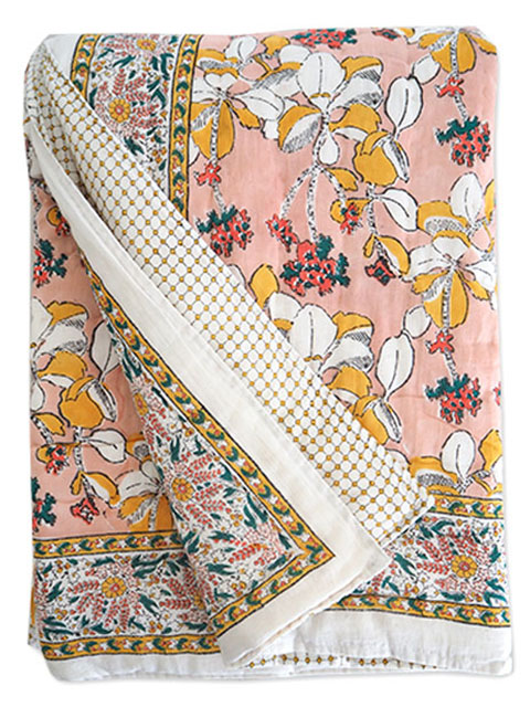Jamini ジャミニ キルト マルチカバー Quilt Multi-cover・IRIS Pink(W160xH225cm)