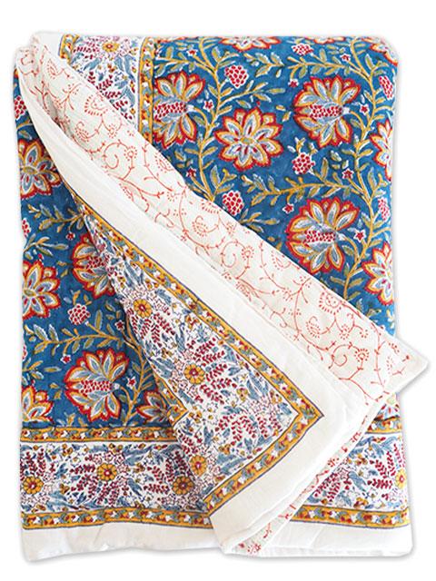 Jamini ジャミニ キルト マルチカバー Quilt Multi-cover・LOUISE BLUE(W160xH225cm)Type.A