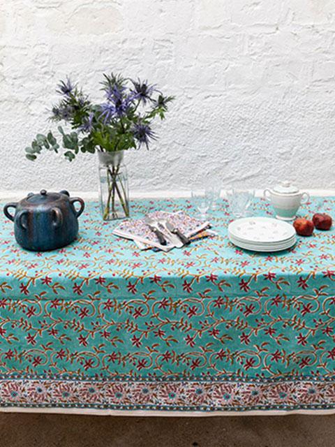 Jamini ジャミニ テーブルクロス Table cloth・ANAMIKA Turquoise(W240xH135cm)