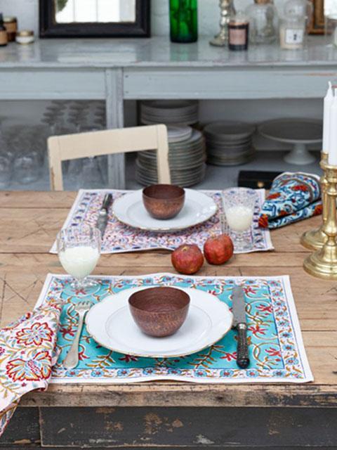 Jamini ジャミニ テーブルマット Table Mat・ANAMIKA Turquoise(W45xH35cm)