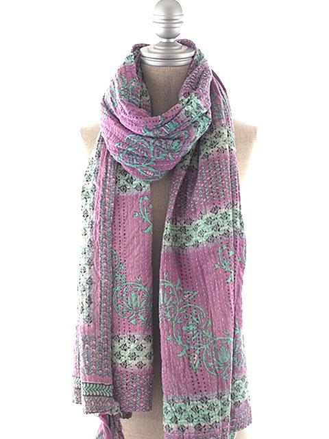 ジャネット ファリア ヴィンテージカンタ ラリーキルト ストール ショール Jeanette Farrier Vintage Kantha 3 layer shawl・Type.F