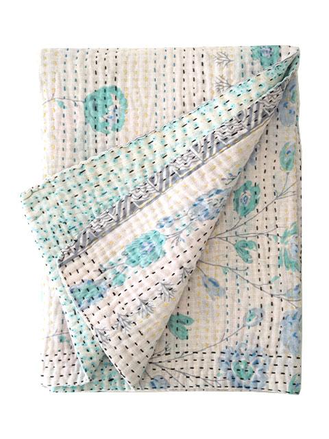 ジャネット ファリア ヴィンテージカンタ ラリーキルト ベビーブランケット Jeanette Farrier Vintage Kantha Baby Blanket・Type.I