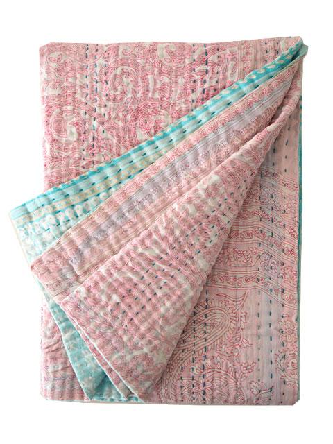 ジャネット ファリア ヴィンテージカンタ ラリーキルト ベビーブランケット Jeanette Farrier Vintage Kantha Baby Blanket・Type.P