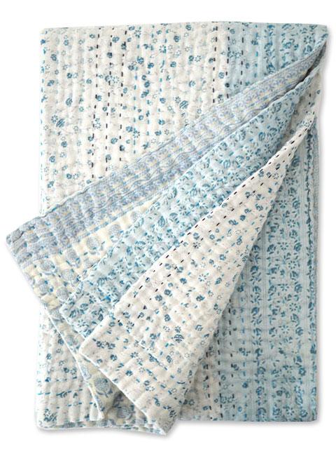 ジャネット ファリア ヴィンテージカンタ ラリーキルト ベビーブランケット Jeanette Farrier Vintage Kantha Baby Blanket・Type.E