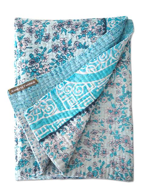 ジャネット ファリア ヴィンテージカンタ ラリーキルト ベビーブランケット Jeanette Farrier Vintage Kantha Baby Blanket・Type.02