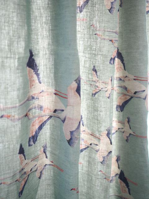 『SALE セール50%OFF』メゾン レヴィ Maison Levy リネンカーテン マルチクロス Curtain Linen・FLAMINGO VERT DE GRIS(W143xH200cm・1枚)