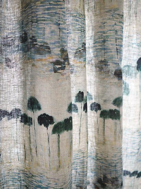 メゾン レヴィ Maison Levy リネンカーテン マルチクロス Curtain Linen・REFLEJOS AGUA(W143xH200cm・1枚)