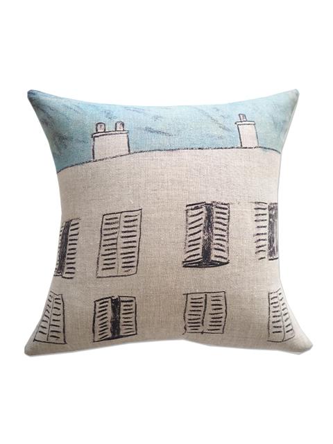 メゾン レヴィ Maison Levy リネンクッションカバー Cushion Cover Linen・FENETRE SUR COUR(W34xH34cm・カバーのみ)
