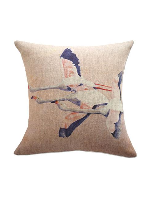 『SALE セール60%OFF』メゾン レヴィ Maison Levy リネンクッションカバー Cushion Cover Linen・FLAMINGO ROSE(W34xH34cm・カバーのみ)