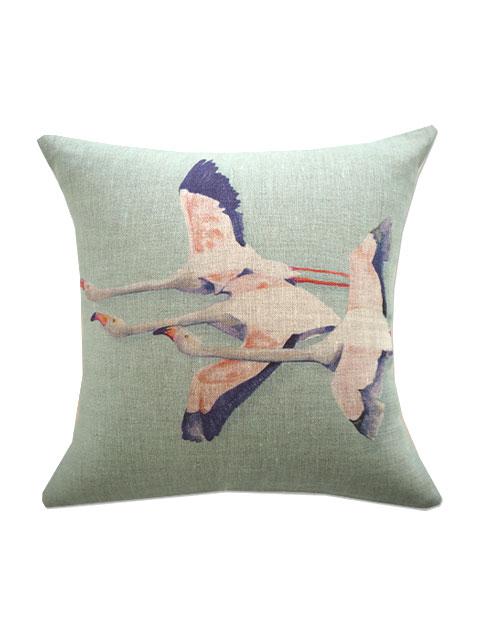 『SALE セール50%OFF』メゾン レヴィ Maison Levy リネンクッションカバー Cushion Cover Linen・FLAMINGO VERT DE GRIS(W34xH34cm・カバーのみ)