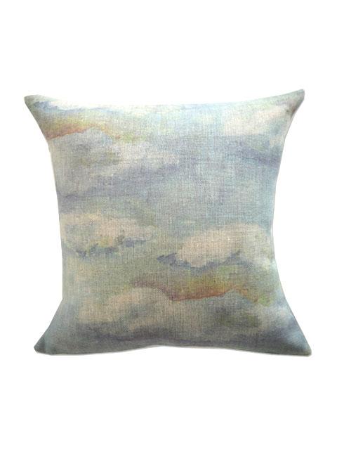 メゾン レヴィ Maison Levy リネンクッションカバー Cushion Cover Linen・NUAGES BLUES(W34xH34cm・カバーのみ)