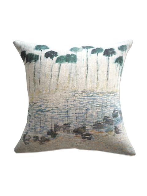 『SALE セール50%OFF』メゾン レヴィ Maison Levy リネンクッションカバー Cushion Cover Linen・REFLEJOS AGUA(W34xH34cm・カバーのみ)